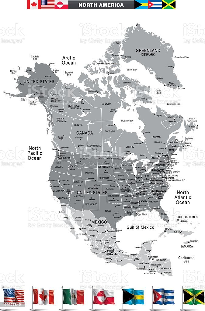North America vector art illustration