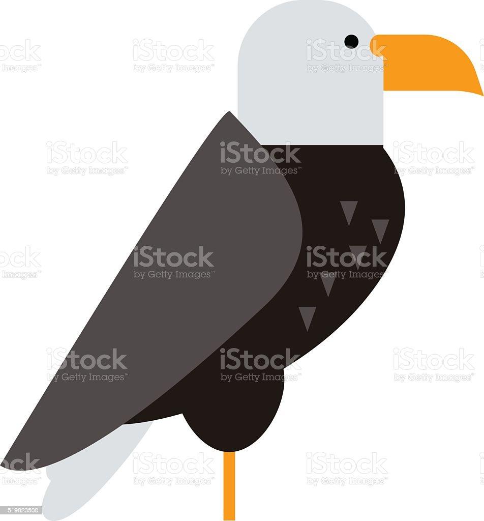 North American bald eagle raptor wildlife bird and hawk predator vector art illustration
