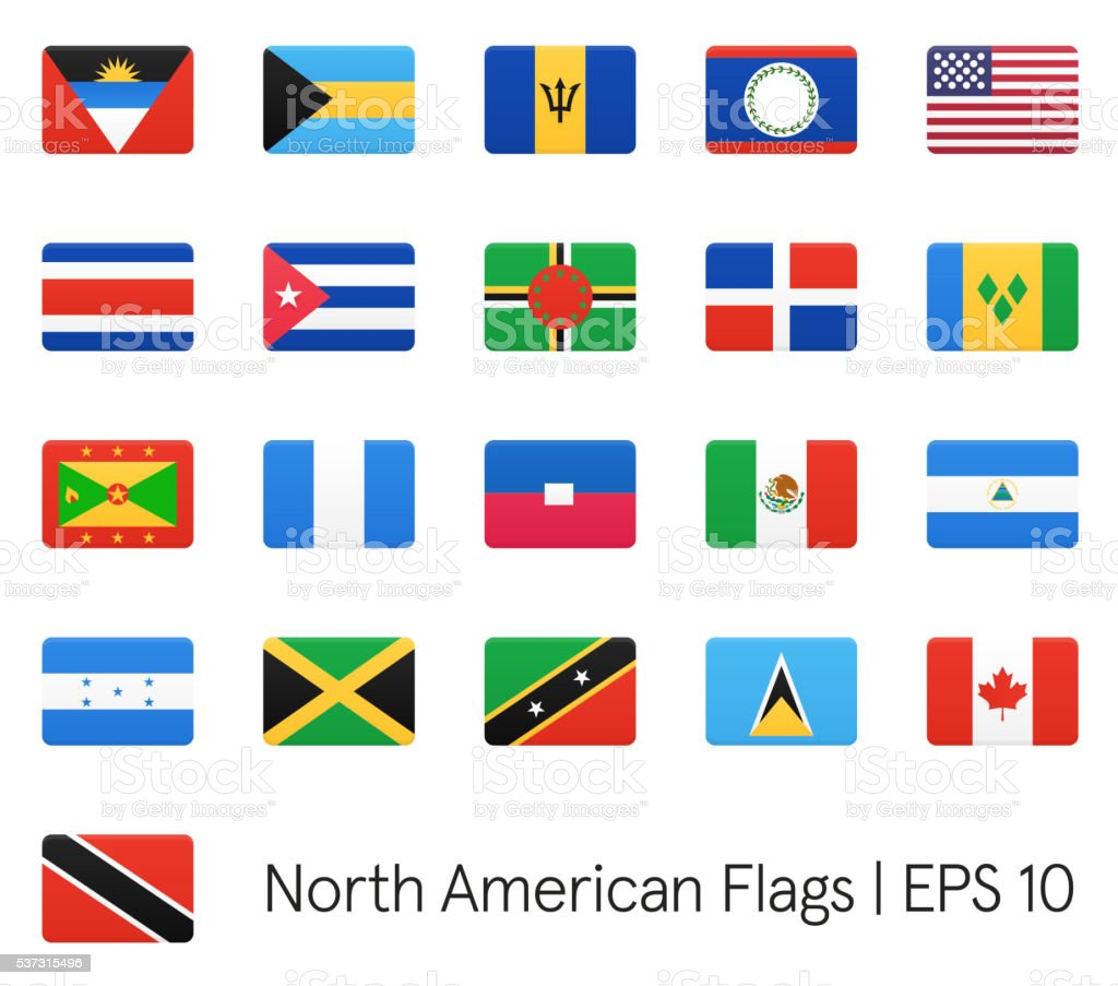 North American flags vector art illustration