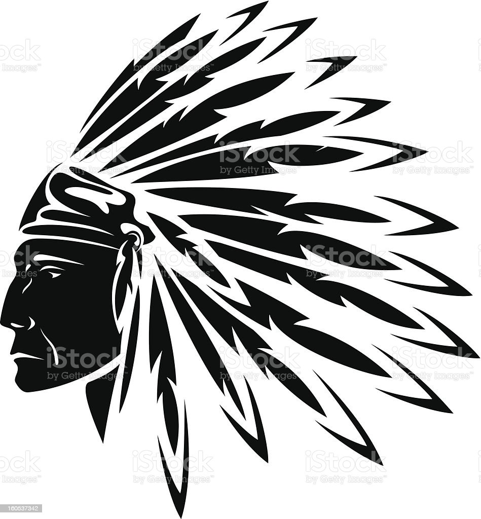 north american indian vector art illustration
