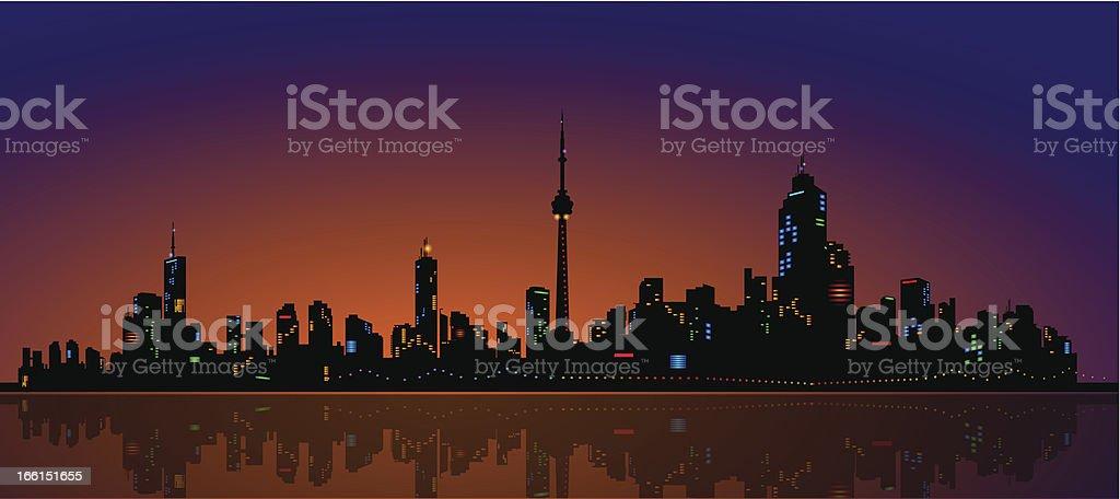 North American Metropolis Skyline Urban City Dramatic Night View royalty-free stock vector art