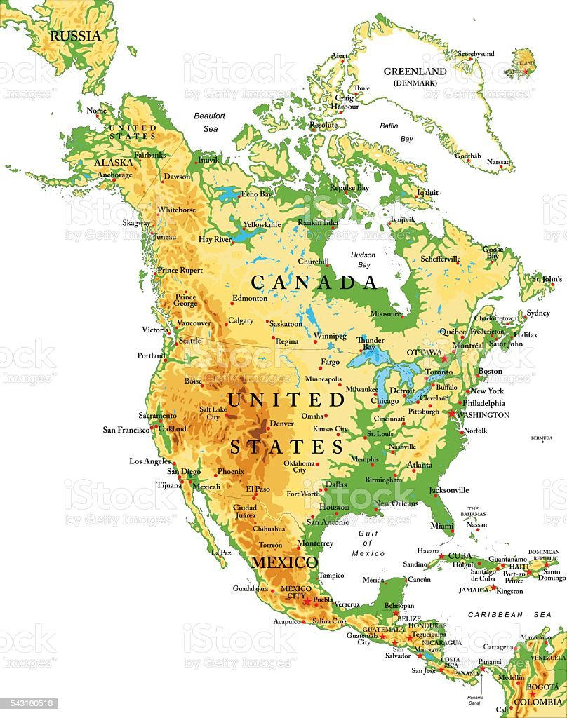 North America-physical map vector art illustration