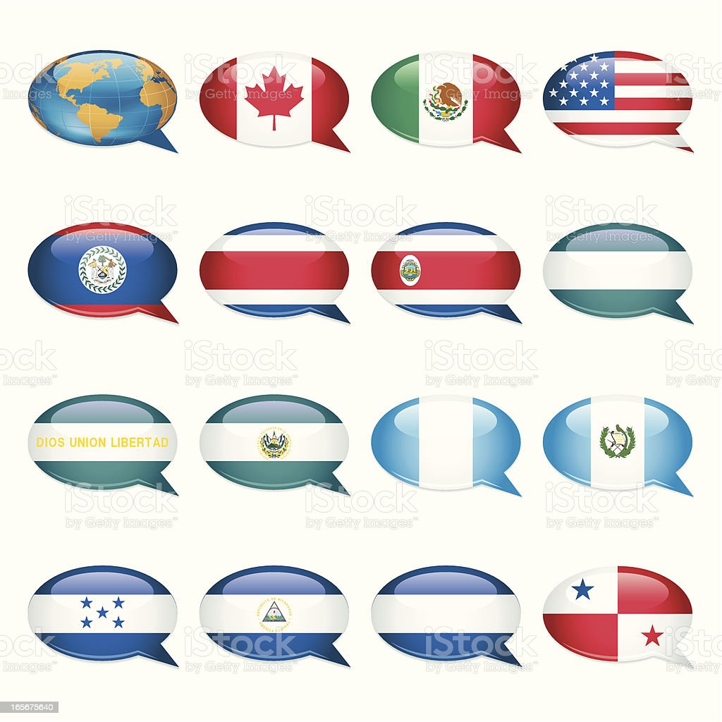 North and Central America. Speech Bubble Flags royalty-free stock vector art
