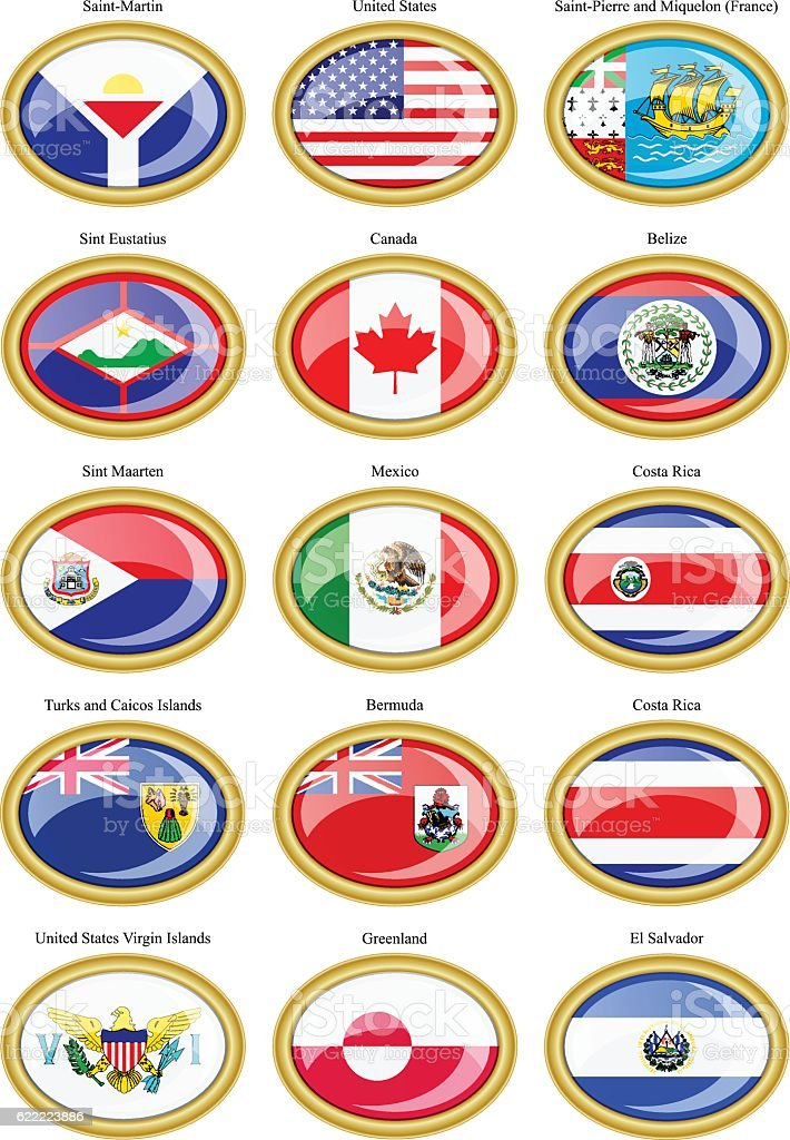 North and Central America's flags vector art illustration