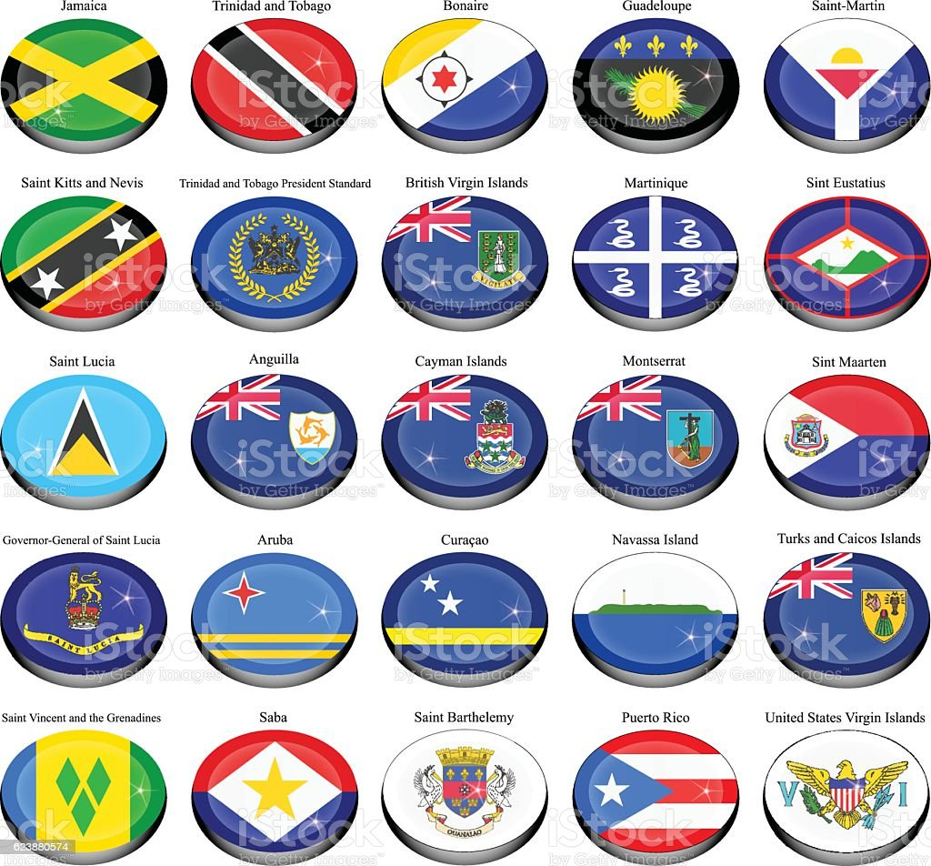 North and Central America's flags. vector art illustration