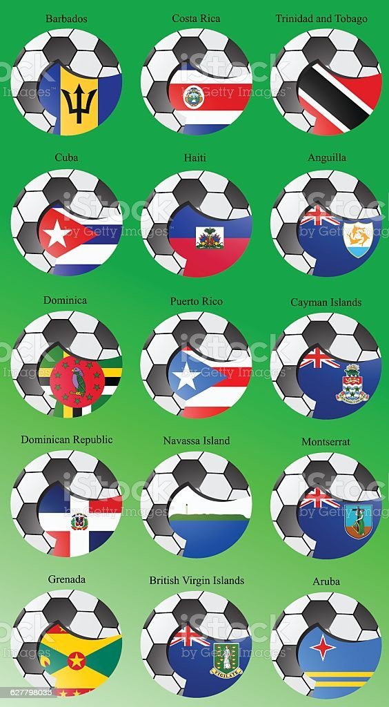 North and Central America's flags with soccer ball. vector art illustration