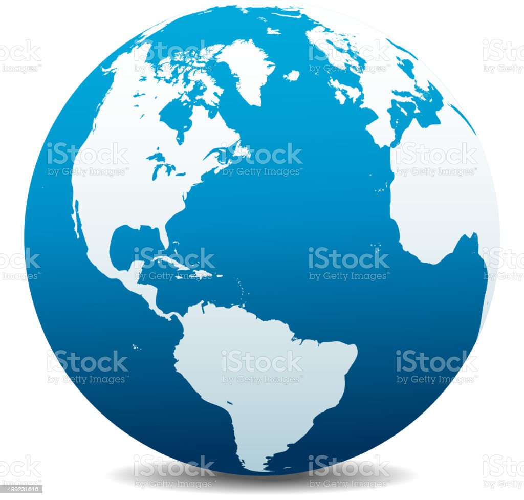 North and South America, Europe, Africa Global World vector art illustration