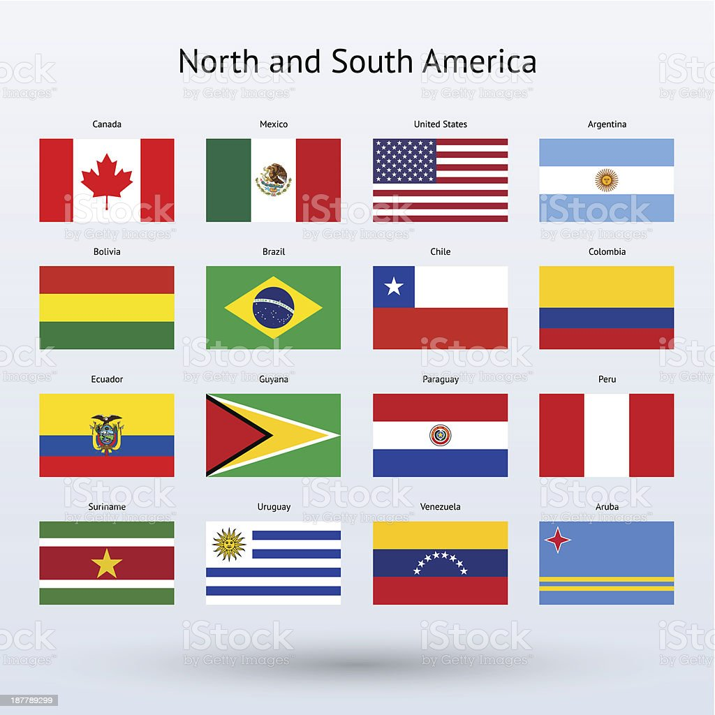North and South America Flags Collection vector art illustration