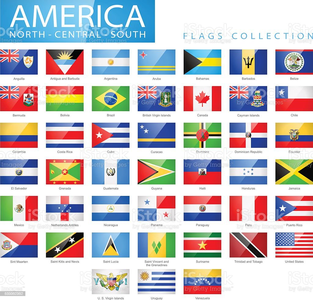 North and South America - Flat Glossy Flags - Illustration vector art illustration