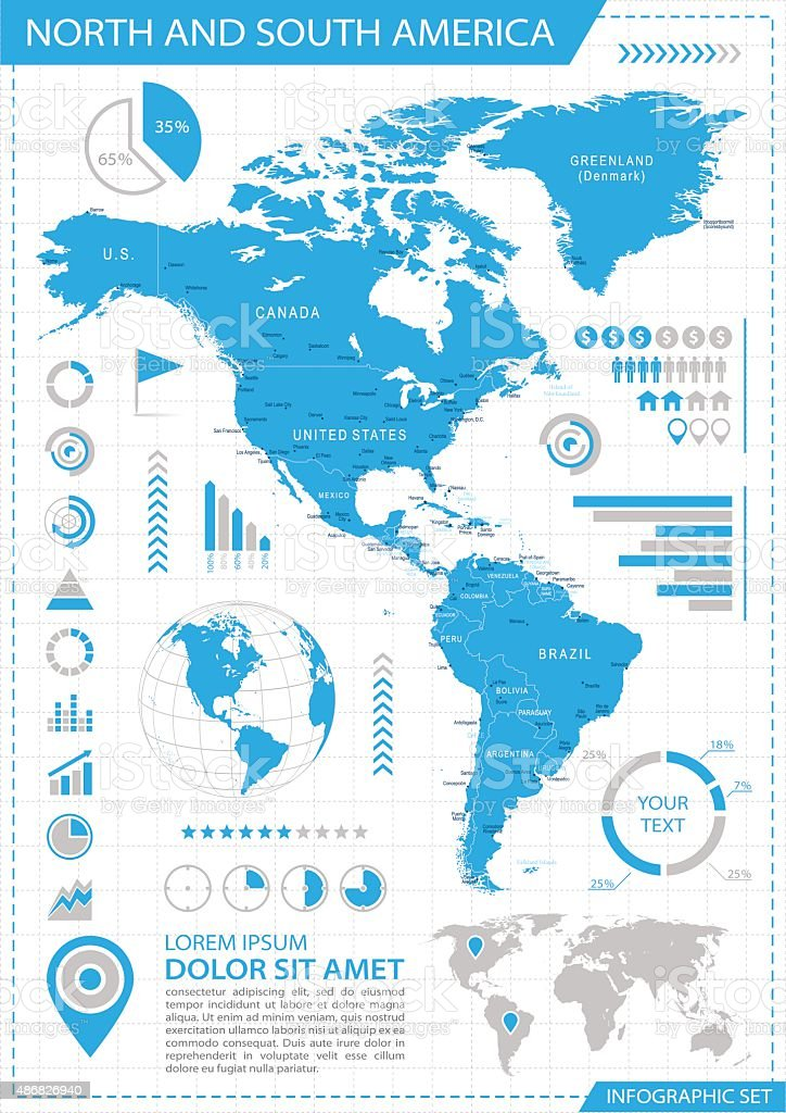 North and South America - infographic map - Illustration vector art illustration