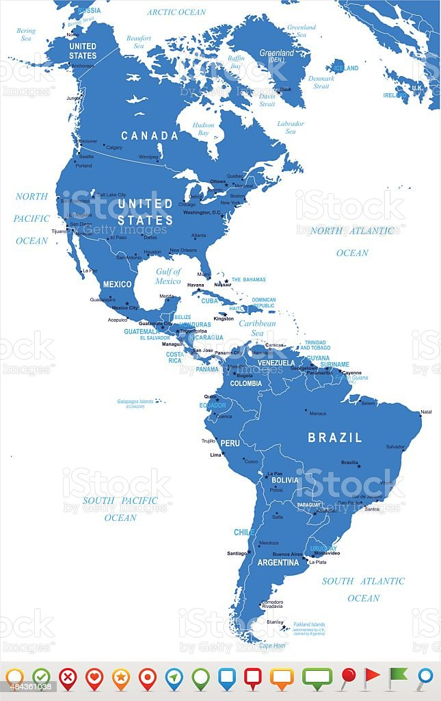 North and South America - map and navigation icons - illustration vector art illustration