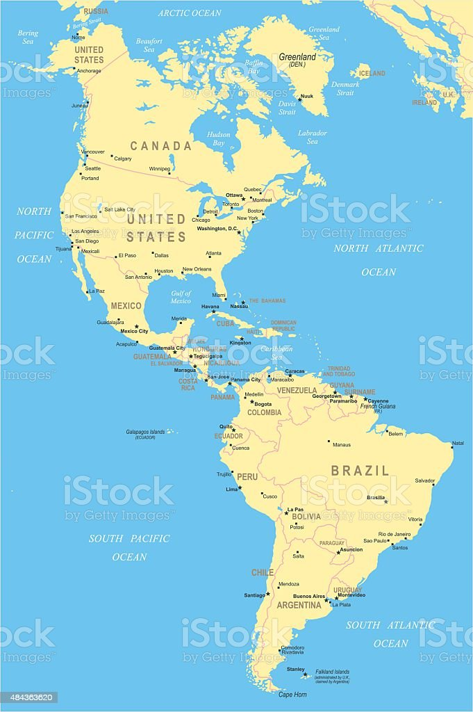North and South America - map - illustration vector art illustration