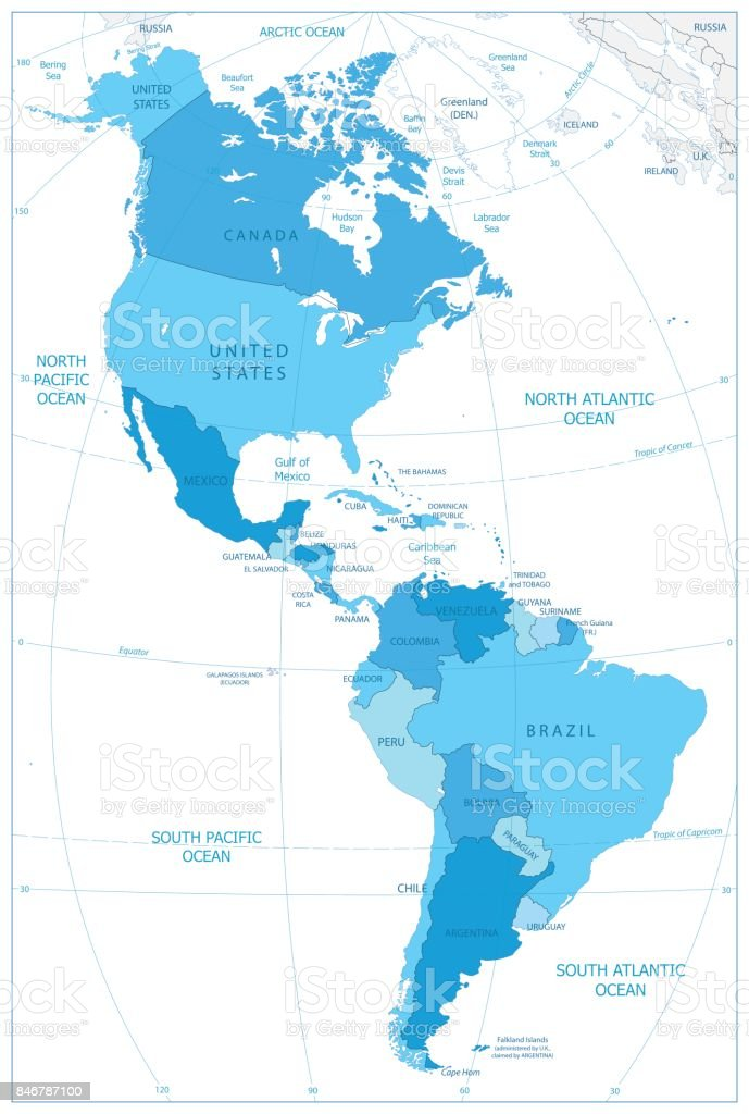 North And South America Map In Colors Of Blue stock vector art