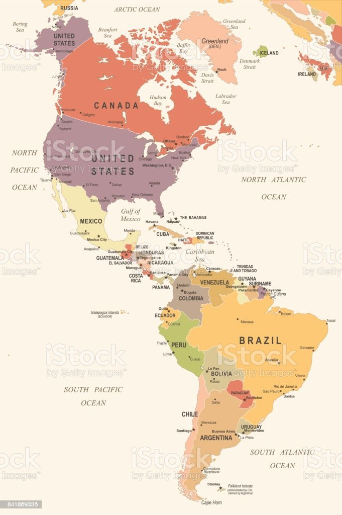 North And South America Map Vintage Vector Illustration stock