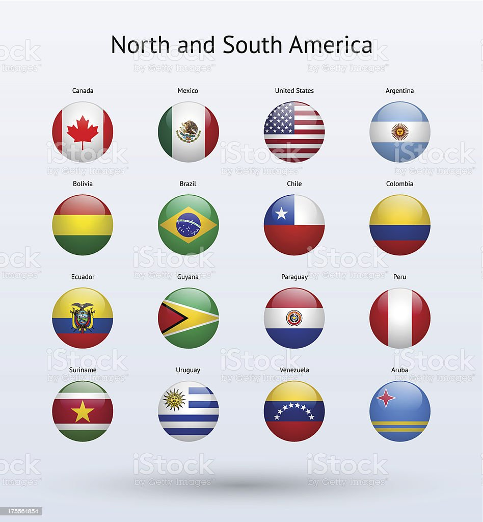 North and South America Round Flags Collection royalty-free stock vector art