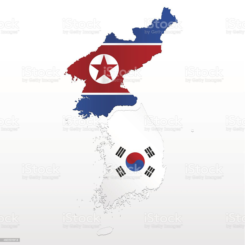 North and South Korea map vector art illustration