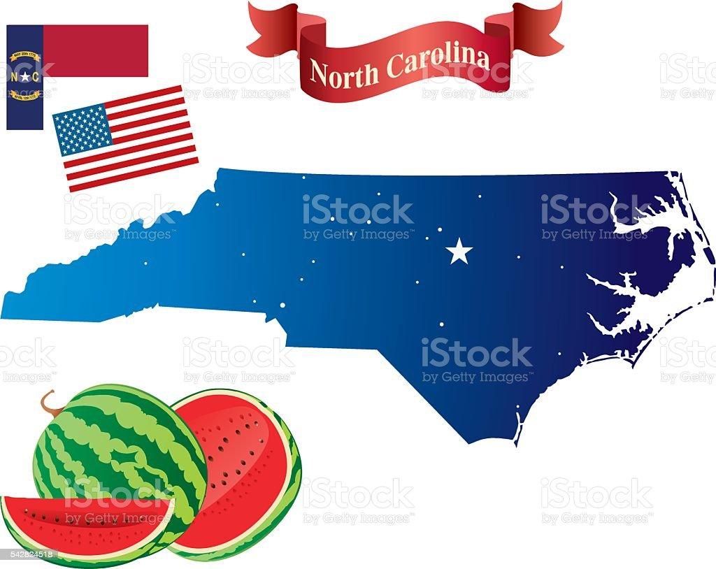 North Carolina and Watermelon vector art illustration