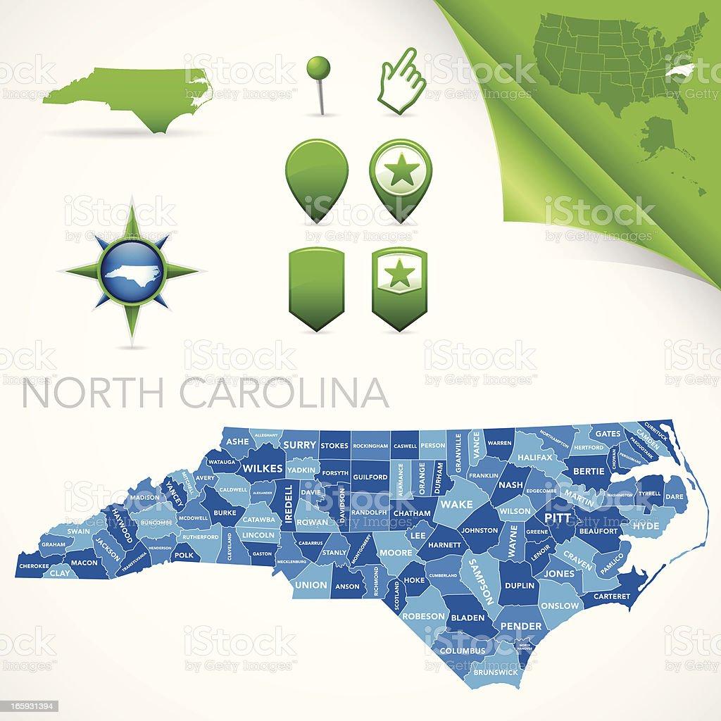 North Carolina County Map vector art illustration