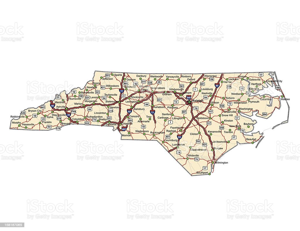 North Carolina Highway Map Stock Vector Art IStock - North carolina on a us map
