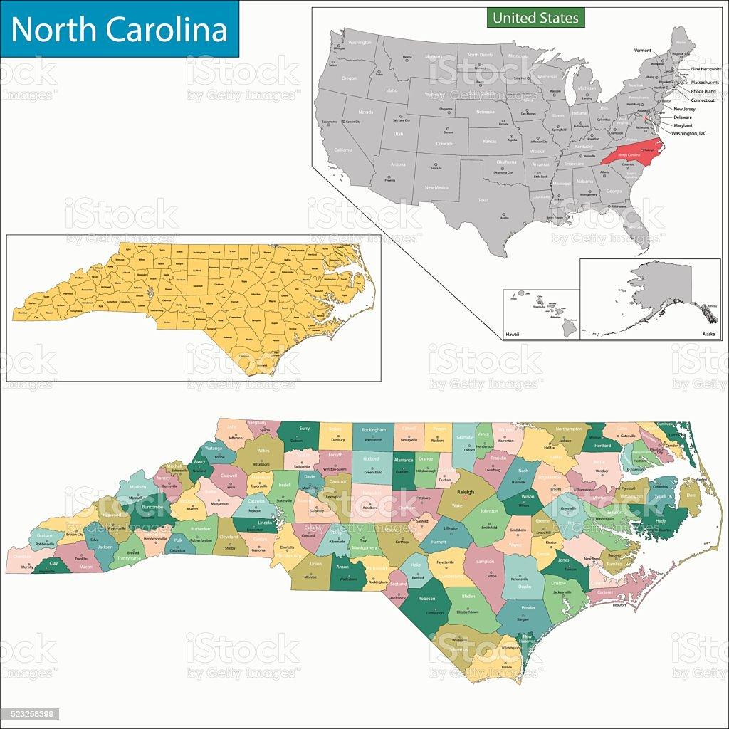 North Carolina map vector art illustration