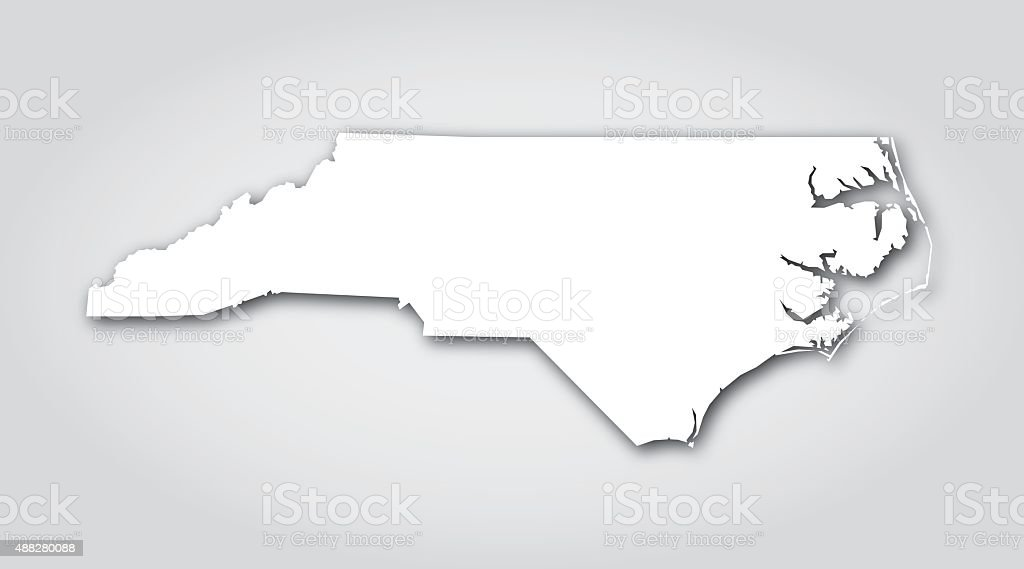 North Carolina Silhouette White Stock Vector Art IStock - Us map white silhouette
