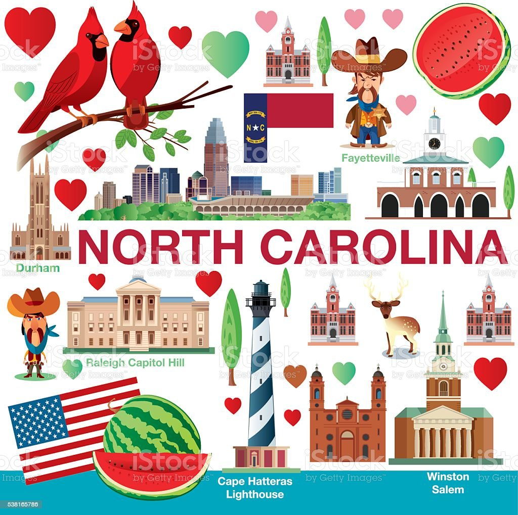 North Carolina Travels vector art illustration