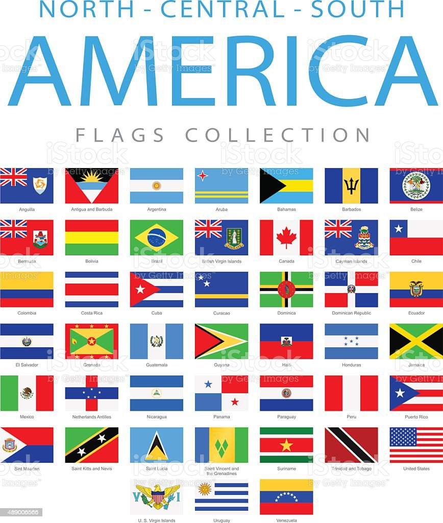 North, Central and South America - Flags - Illustration vector art illustration