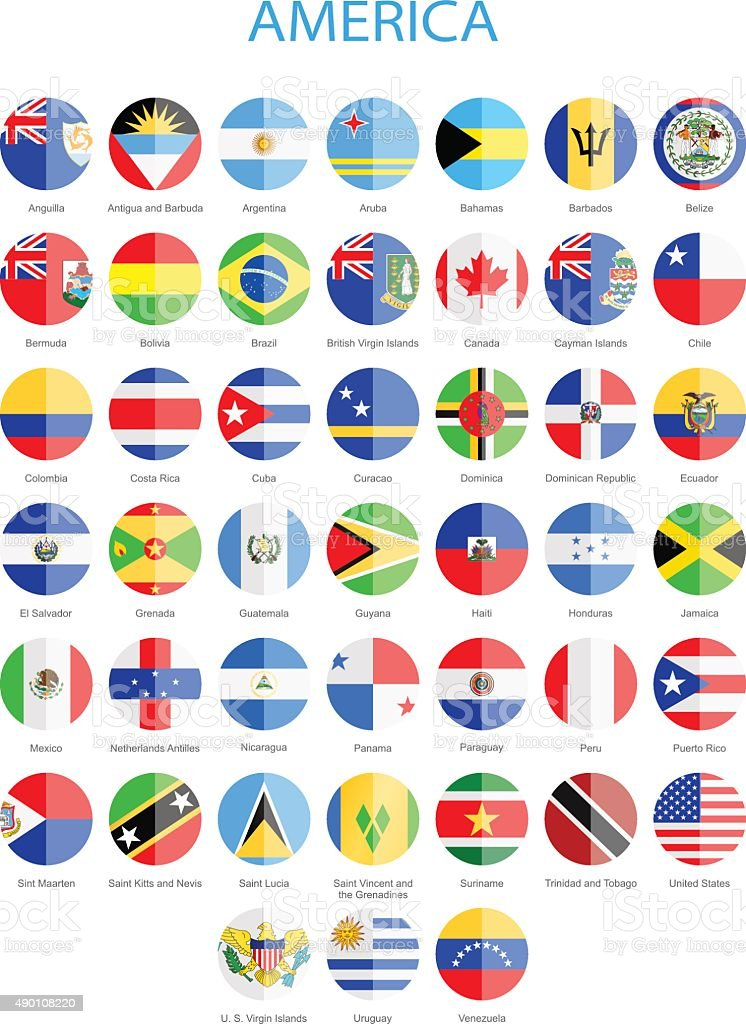 North, Central and South America - Flat Round Flags vector art illustration