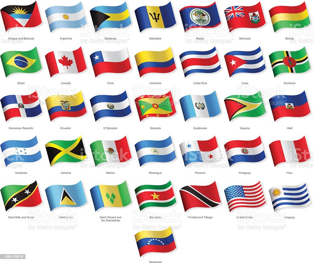North, Central and South America - Waving Flags - Illustration vector art illustration