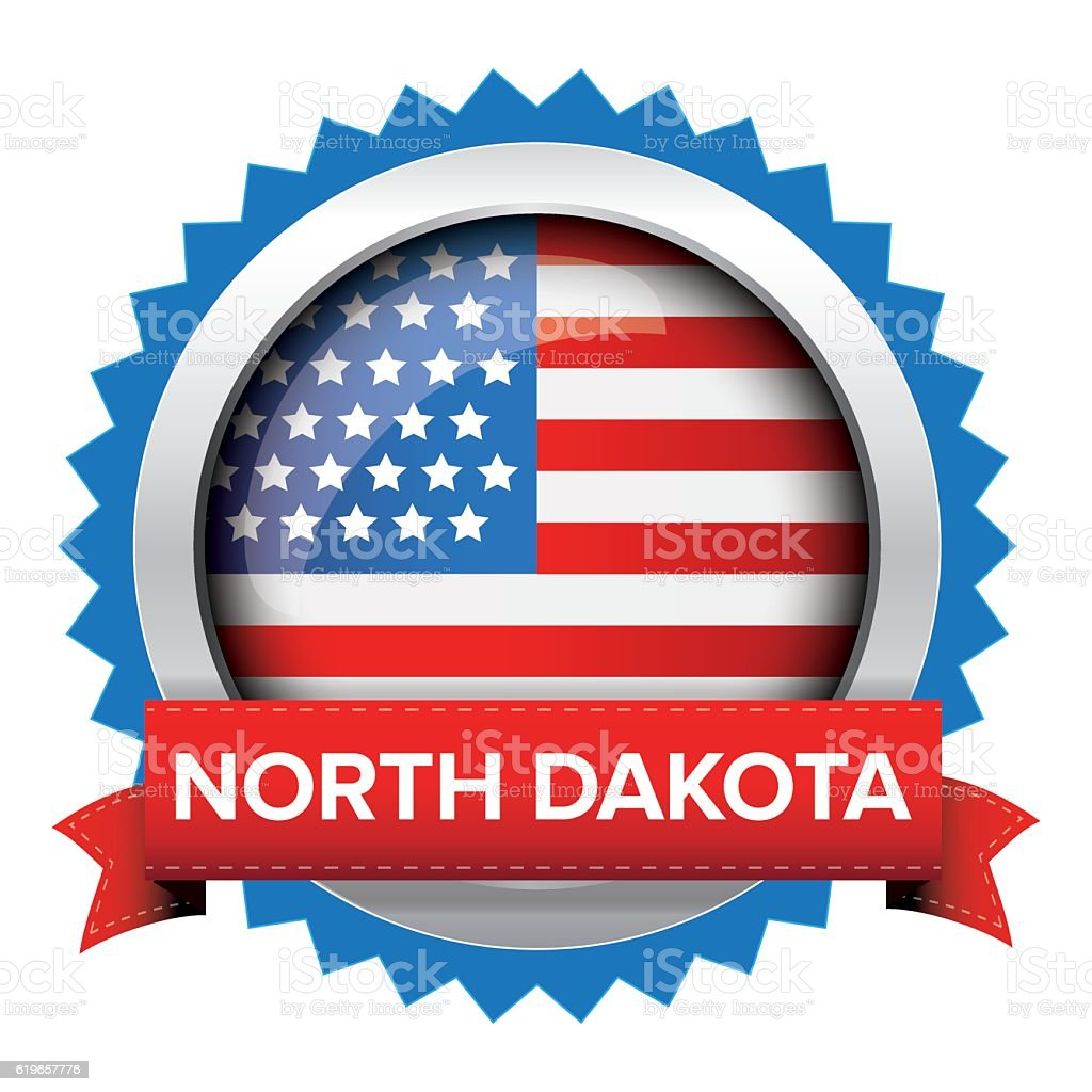 North Dakota and USA flag badge vector vector art illustration
