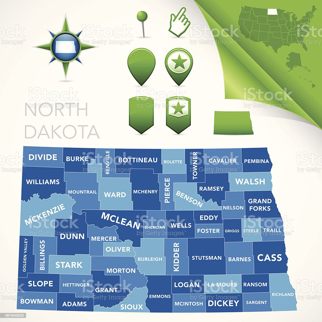 North Dakota County Map vector art illustration