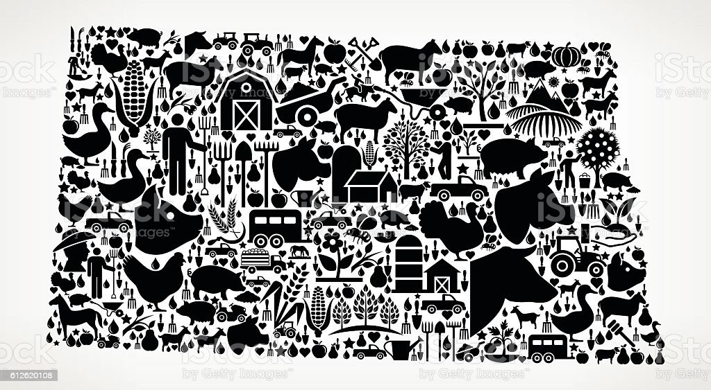 North Dakota Farming and Agriculture Black Icon Pattern vector art illustration