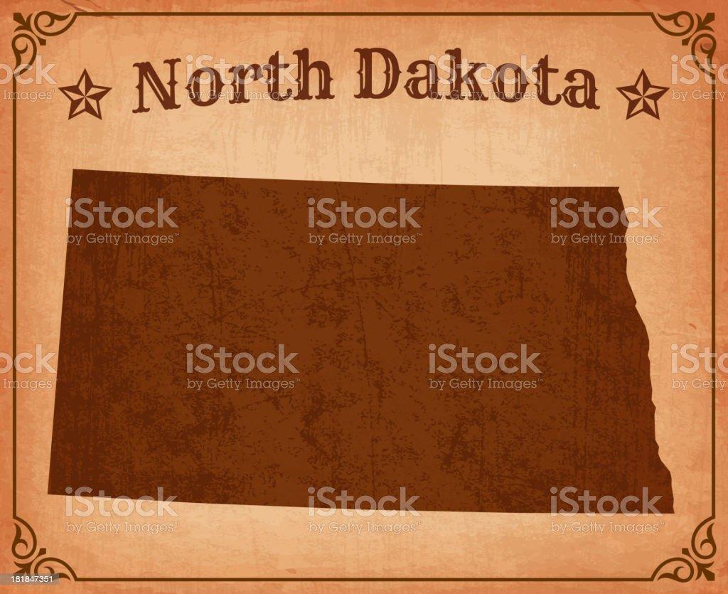 North Dakota Grunge Map with Frame royalty-free stock vector art