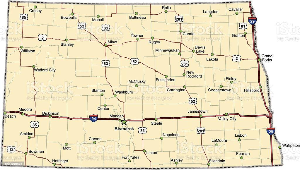 North Dakota Highway Map (vector) royalty-free stock vector art