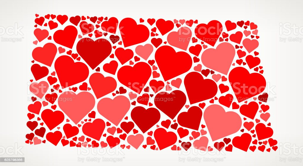 North Dakota Icon with Red Hearts Love Pattern vector art illustration
