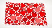 North Dakota Icon with Red Hearts Love Pattern