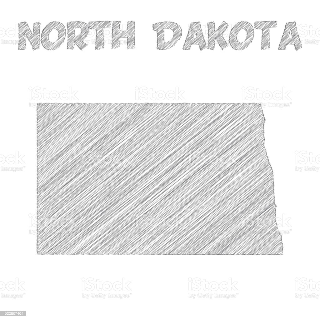 North Dakota map hand drawn on white background vector art illustration