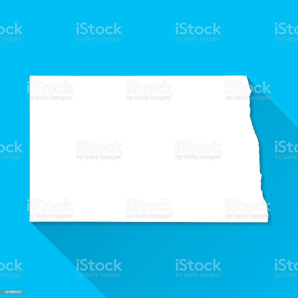 North Dakota Map on Blue Background, Long Shadow, Flat Design vector art illustration