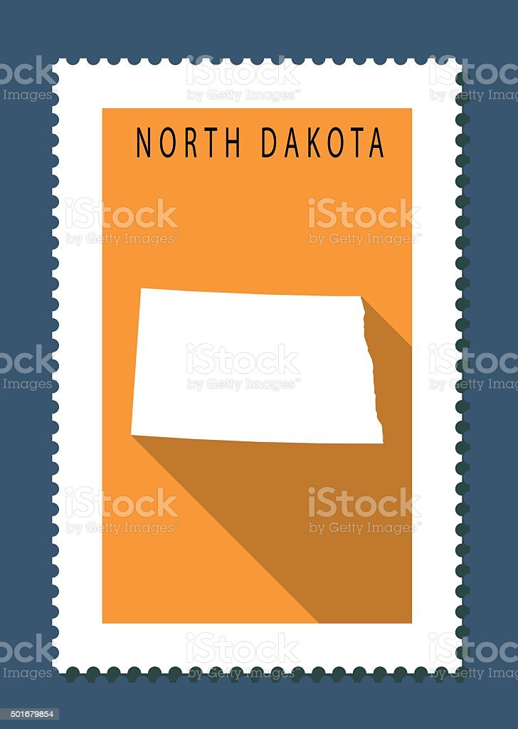 North Dakota Map on Orange Background, Long Shadow, Flat Design vector art illustration
