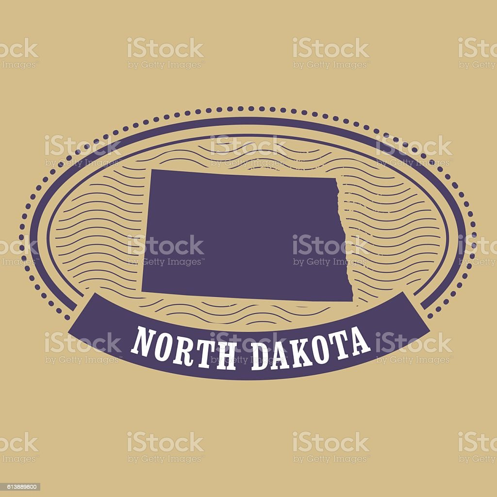 North Dakota map silhouette - oval stamp of state vector art illustration