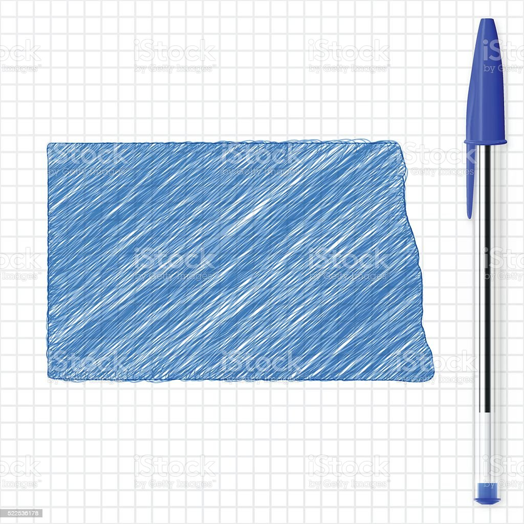 North Dakota map sketch on grid paper, blue pen vector art illustration