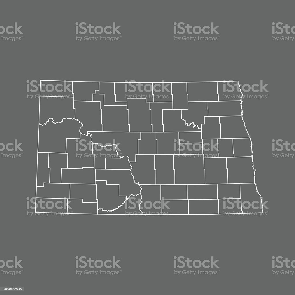 North Dakota Map vector art illustration