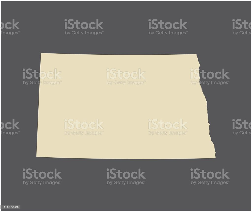 North Dakota map vector outline vector art illustration