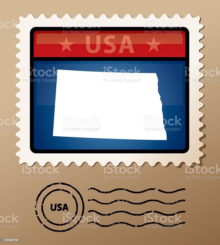 USA North Dakota postage stamp royalty-free stock vector art