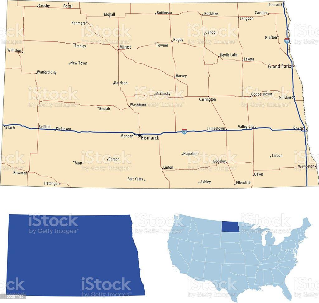 North Dakota road map royalty-free stock vector art
