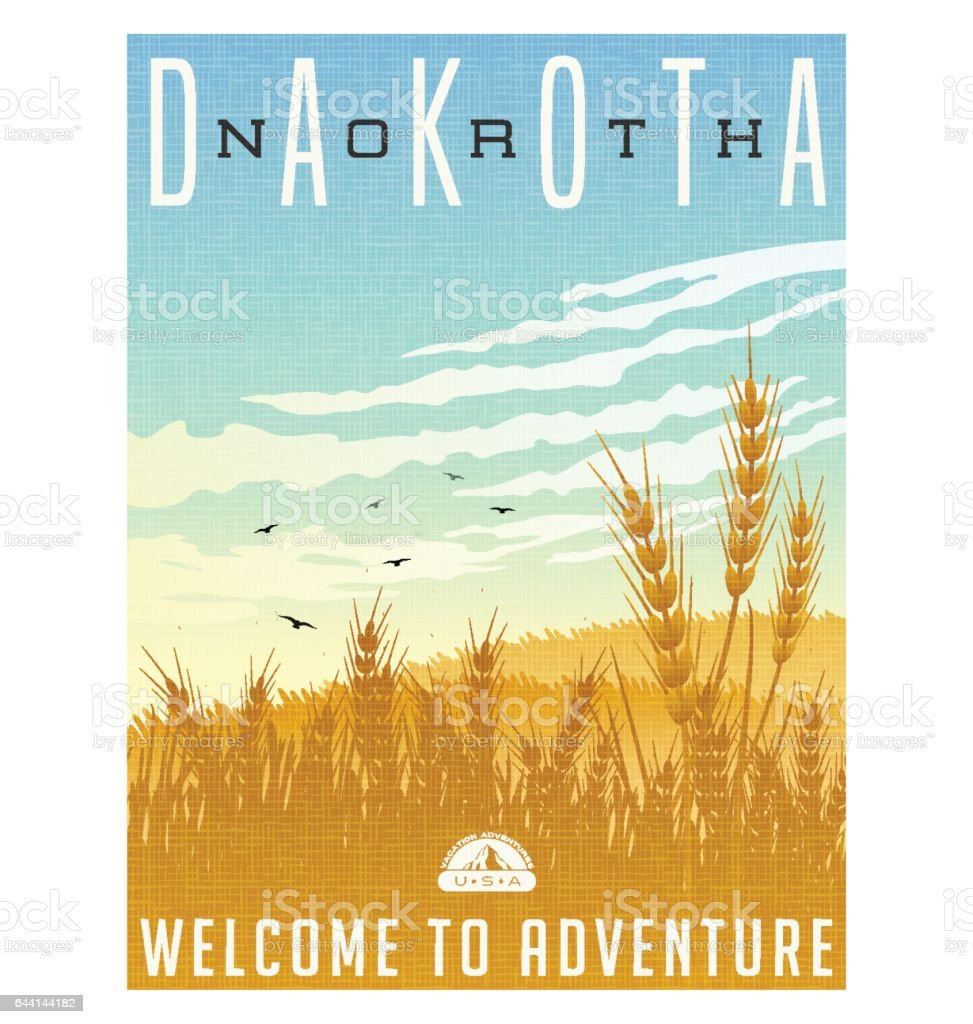North Dakota, United States travel poster or luggage sticker. Scenic illustration of golden wheat fields with blackbirds and cirrus clouds overhead. vector art illustration