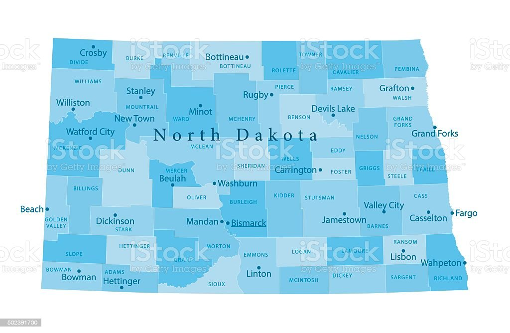 North Dakota Vector Map Isolated vector art illustration