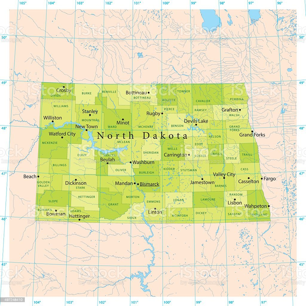 North Dakota Vector Map vector art illustration