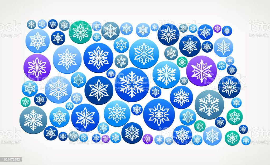 North Dakota Winter Seasonal Snowflake Graphic Pattern. vector art illustration