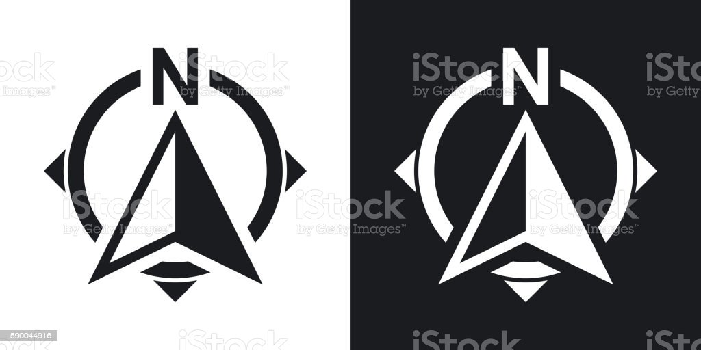 North direction compass icon, stock vector. Two-tone version vector art illustration